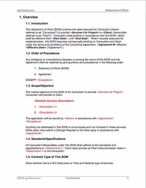 ProjectmanagementCom  Statement Of Work Template  Pmp