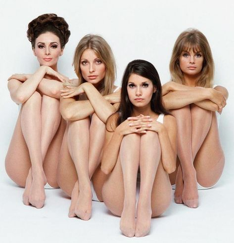 Wilhelmina Cooper, Sharon Tate, Josephine Attominoff, and Jean Shrimpton; photographed by William Helburn in 1967.