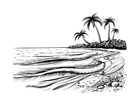 Ocean Or Sea Beach With Waves Sketch Black And White Vector Illustration Of Sea Shore With Palms Art Print Melok Art Com In 2021 Beach Drawing Black And White Doodle Sea Drawing