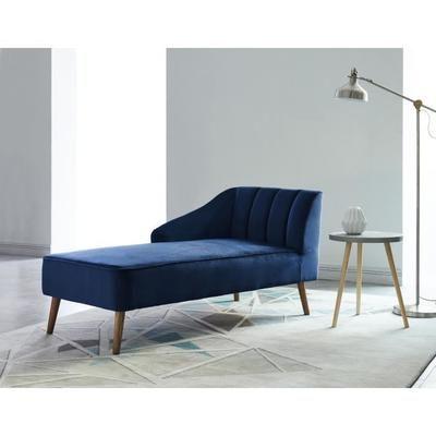 PAULINE Méri nne Velours bleu Scandinave L 154 x P 68 cm