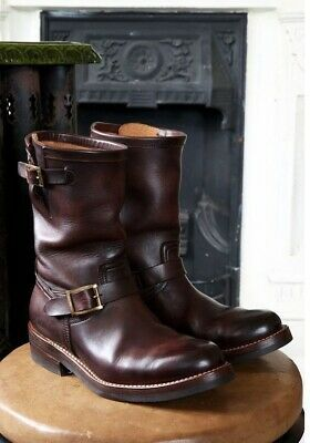 80s Motorcycle Boots With Ankle Strap Vintage Distressed Black