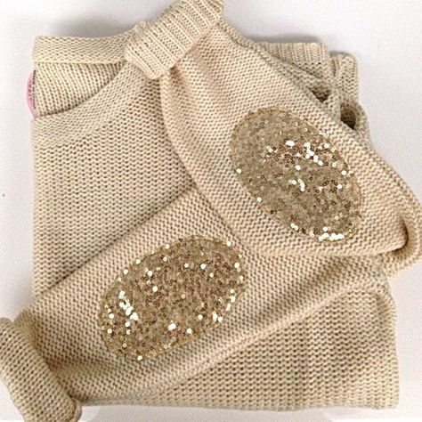 Sparkly elbow patches. #glitter #sweater