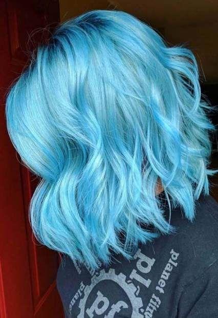 41 Trendy Hair Blue Medium Hairstyles Light Blue Hair Cool