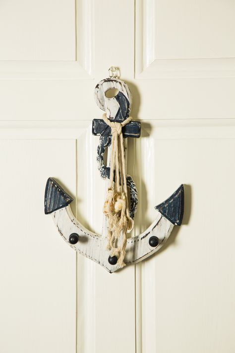 Wooden Blue White Nautical Anchor Wall Decor With Shells