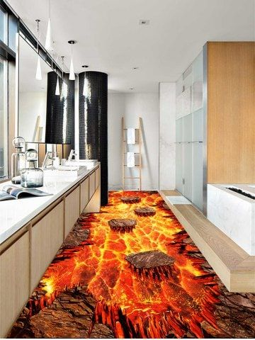 Volcanic Lava Patterned Decoration Floor Stickers Floor Stickers Floor Decal Pattern And Decoration