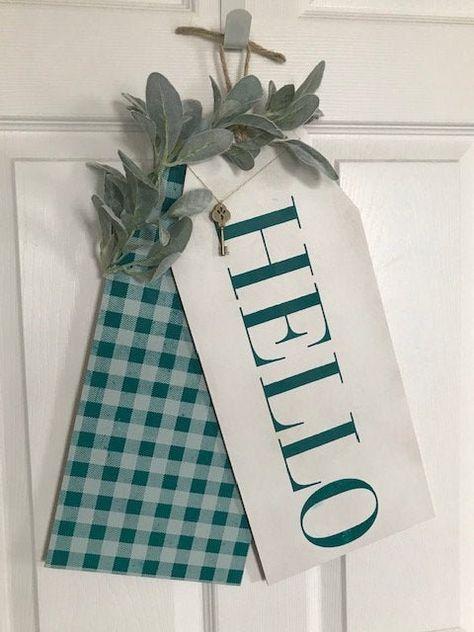 Hello Front Door Tags, Hello Door Sign, Door Hanger, Door Sign, Door Decor, Door Hanger Front Door, Door Tags Summer, Wood Signs, Home Decor