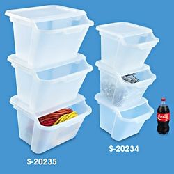 clear stackable bins in stock uline