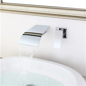 Wall Mount Chrome Sink Faucet Curved Waterfall Bathroom Sink Tap Sink Faucets Bathroom Sink Taps Sink Taps