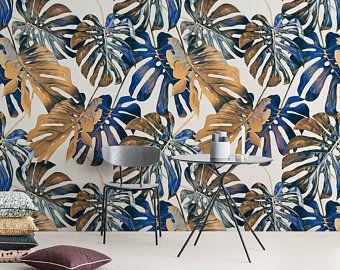 Tropical Wallpaper Self Adhesive Peel And Stick Banana Leaf Etsy Leaf Wallpaper Tropical Wallpaper Removable Wallpaper
