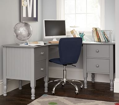 Catalina Corner Desk Charcoal In Home