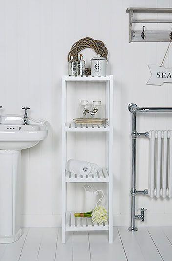 brighton white bathroom shelf unit with 4 shelves for storage rh pinterest com white bathroom corner shelving unit white bathroom wall shelving unit