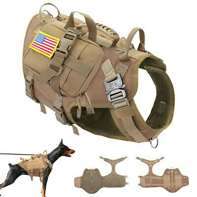Details About Strong Tactical Dog Harness With Pouch Bag Training