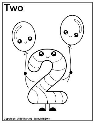 Number 2 Holding Balloons Coloring Page Preschool Coloring Pages