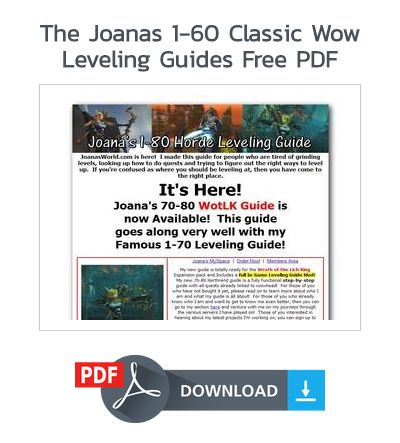 The Joanas 1 60 Classic Wow Leveling Guides Free Pdf Wow Leveling Guide System Leveling