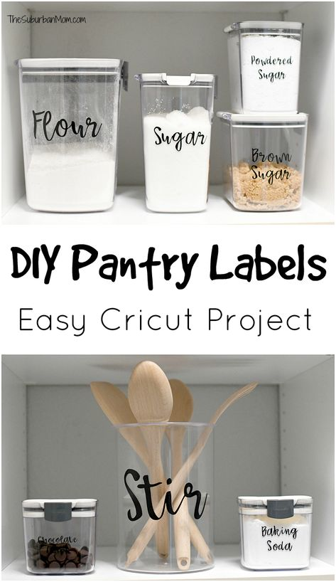 DIY Pantry Labels - An Easy Cricut Project - The Suburban Mom Farmhouse style Pantry Labels are an easy Cricut Project for beginners to help with pantry organization. Get tips and tricks to make your own. Cricut Explore Projects, Vinyl Projects, Cricut Craft Room, Cricut Vinyl, Cricut Stencils, Pantry Labels, Make Labels, Pantry Organization Labels, Make Your Own Labels