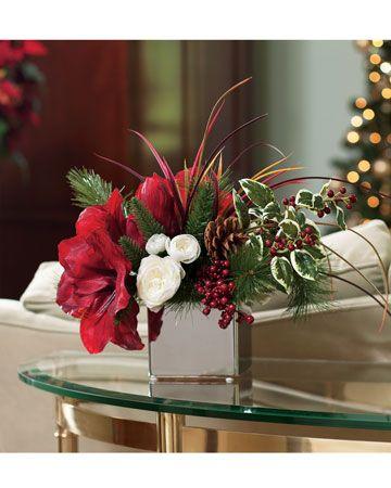 Amaryllis Silk Flower Arrangement Christmas Floral Arrangements Christmas Floral Christmas Arrangements