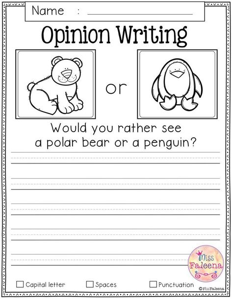 Free Writing Prompts Free Writing Prompts contains 20 free pages of writing prompts worksheets. This product is suitable for kindergarten and first grade students. Narrative Writing Prompts, Kindergarten Writing Prompts, Persuasive Writing, Teaching Writing, Kindergarten Worksheets, Writing Activities, Writing Rubrics, Paragraph Writing, Kindergarten Art