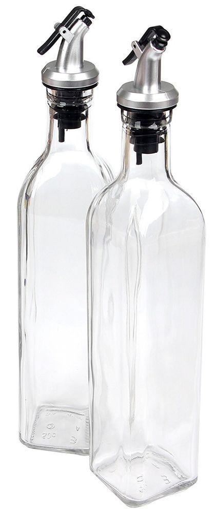 Heritage Collection Olive Oil Vinegar and Vinaigrette Glass Bottle Set on Base
