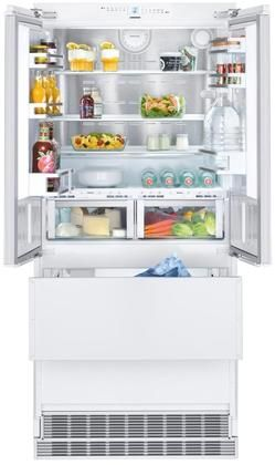 36 French Door Refrigerator With 80 Height Door Panels And Oval Handles In Stainless French Door Refrigerator Built In Fridge Freezer American Style Fridge Freezer