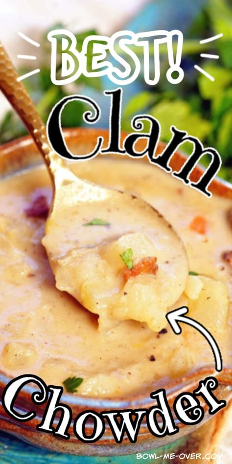 Best Clam Chowder Recipe is creamy and hearty stuffed with clams, bacon and potatoes! This homemade chowder is 100% from scratch and easy to make #clamchowder #homemadeclamchowder #bestclamchowder #bostonclamchowder   #chowder  #bowlmeover #chowda #bostonclamchowder #soupisgoodfood