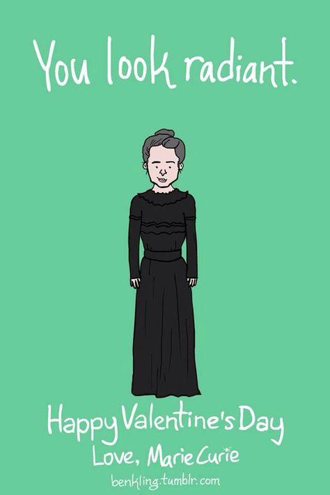 Marie Curie Valentine Science Valentines Cheesy Valentines Day Cards Nerdy Valentines