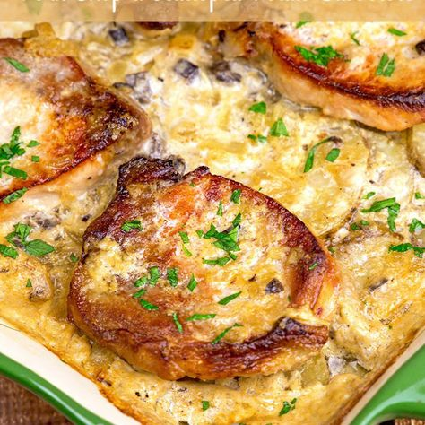 Pork Chops & Scalloped Potatoes Casserole Recipe Main Dishes with loin pork chops, onions, butter, potatoes, cream of mushroom soup, milk (✦ Pinned by accident - to Yummly ✦)