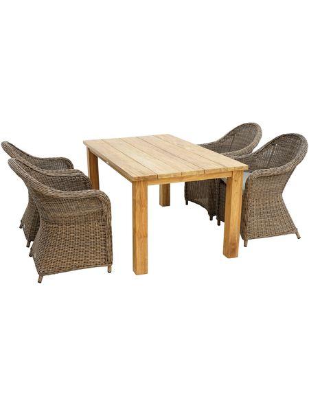 Ploss Gartenmobelset Lambrini 5 Tlg 4 Stuhle Tisch 160x90 Cm