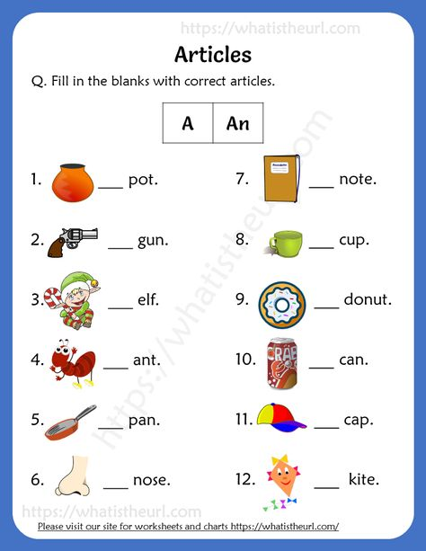 Articles Worksheets For 1st Grade (a / an)