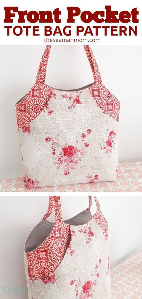 DEEP FRONT POCKET TOTE BAG PATTERN Create a one-of-a-kind front pocket bag by choosing colorful and coordinating fabrics for the bag, the pocket and the straps, for a chic yet low key custom look. Sewing Hacks, Sewing Tutorials, Sewing Crafts, Bag Tutorials, Sewing Tips, Patchwork Bags, Quilted Bag, Bag Patterns To Sew, Sewing Patterns Free