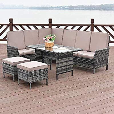 Amazon Com Tangkula 5 Pieces Patio Furniture Set Wicker Rattan Steel Frame Patio Outdoor Garden Conv Patio Furniture Rattan Furniture Set Patio Furniture Sets