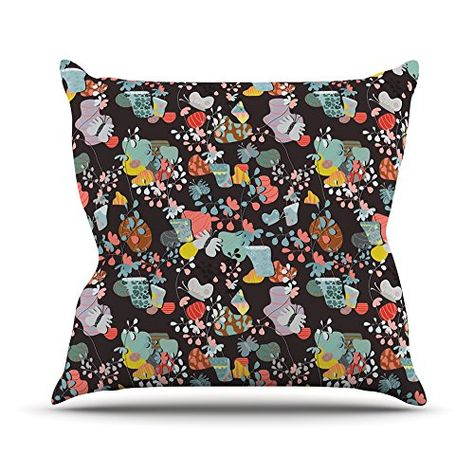 23 x 23 Square Floor Pillow Kess InHouse Akwaflorell at Home Black Multicolor