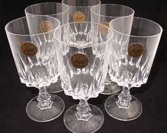 Cristal Darques France Genuine Lead Crystal Vase.Set Of 6 France Cristal D Arques Louvre Genuine Lead Crystal Glasses