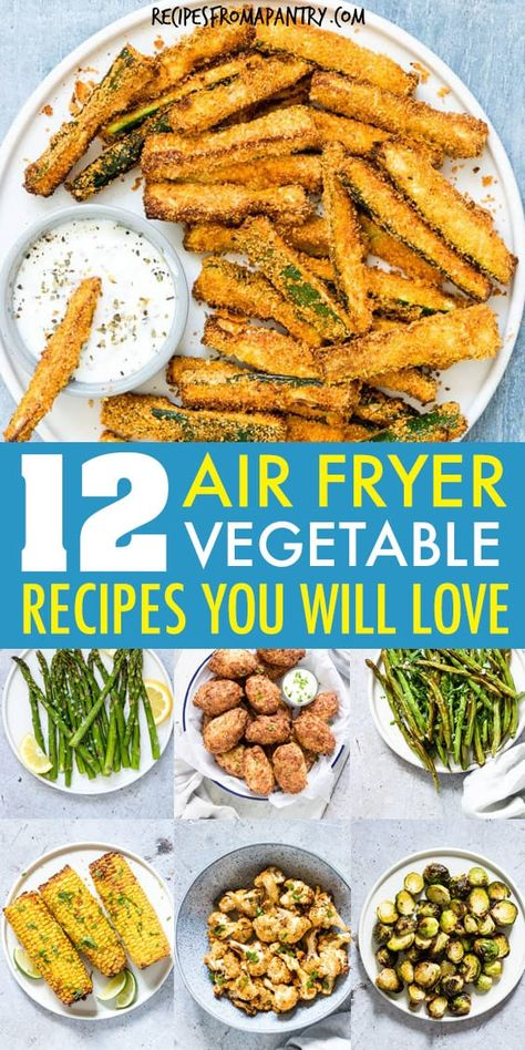 These 10 Amazing Air Fryer Vegetable Recipes are the cure for bland, boring veggies! Enjoy easy and healthy vegetable side dishes and snacks that are so simple and convenient with the air fryer. All it takes is a few minutes and a tiny bit of oil to serve up totally crave-worthy veggies that are tender in the middle and delightfully crunchy on the outside. Great for beginners! #airfryer #airfryerrecipes #healthyairfryerrecipes #airfryervegetables #eatyourveggies #airfried #air-fryer #vegetables