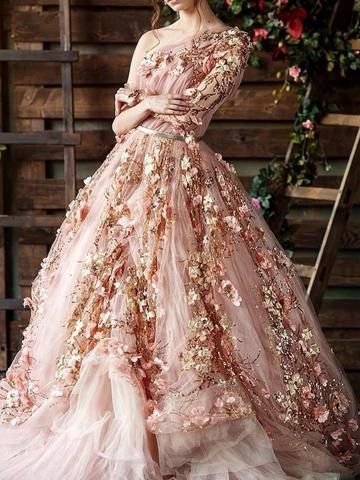 Abiti Eleganti Cerimonia On Line.Long Sleeve Appliques Floor Length Floral Pullover Dress Nel 2020