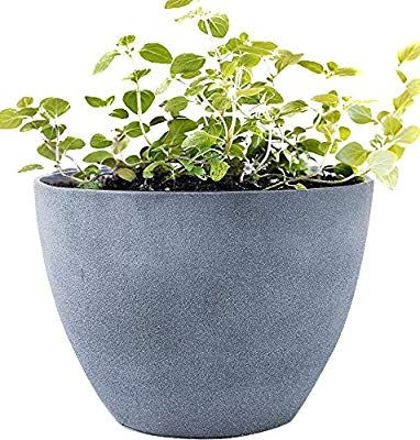 Flower Pot Large 14 2 Inch Garden Planters Outdoor Indoor Resin Plant Containers With Drain Hole G Large Garden Planters Container Plants Garden Planters Diy