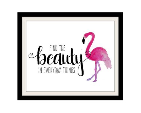 Flamingo Print Girl Quotes Find the Beauty Pink and Black Decor Flamingo Art Quotes for Girls Bathro