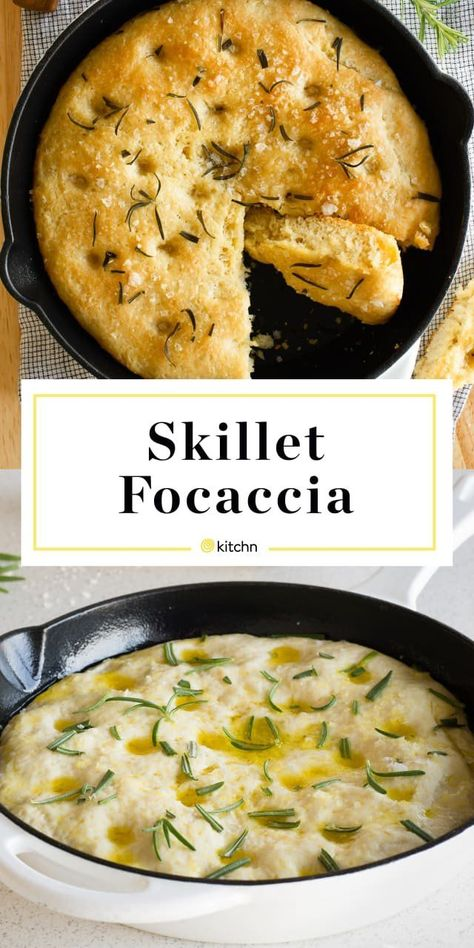 This skillet foccacia is SO easy to make. You only need 5 ingredients: flour, yeast, rosemary, salt and olive oil. This simple and quick bread is a great option for a last minute side dish. dinner skillet Recipe: No-Knead Skillet Focaccia Iron Skillet Recipes, Cast Iron Recipes, Cast Iron Skillet, Focaccia Recipe, Cast Iron Cooking, Cast Iron Bread, A Food, Food Processor Recipes, Cooking Recipes