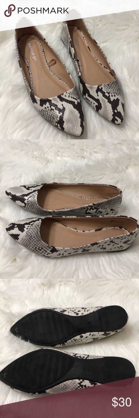 Madden girl Jeena Flats size 10 white snake print Madden girl Jeena Flats size 10 white snake print. Excellent used condition. Smoke-free pet free home. All man-made materials. Madden Girl Shoes Flats & Loafers
