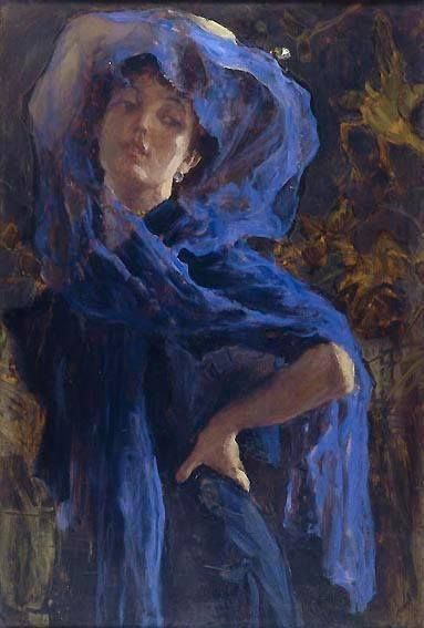 1907 Artist age: Approximately 32 years old. Dimensions: Height: 95 cm in.), Width: 55 cm in.) Medium: Painting - oil on cardboard Glauco Cambon (Italian, 1875 - Blue Veil Glauco Cambon - 1907 Giovanni Boldini, Italian Painters, Italian Artist, Figure Painting, Painting & Drawing, Augustin Lesage, Maria Emilia, Figurative Kunst, Social Art