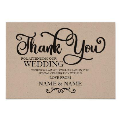 Thank You Card Wedding Rustic Engagement Script Zazzle Com