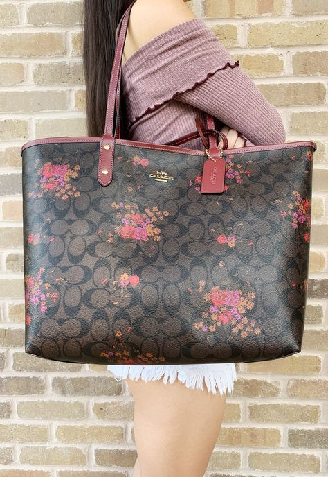 41bb7634bb5f Coach F36658 Reversible City Tote Signature Brown Red Floral  ebayseller   Poshmark  toprated  ebaystore  amazon  tradesyseller  posher  Handbags ...