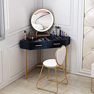 Amazon Com Vanity Table Set Iron L Shaped Corner Vanity Table Set With Lighted Mirror Bow Cushioned Stoo In 2021 Corner Vanity Table Vanity Table Set Corner Vanity