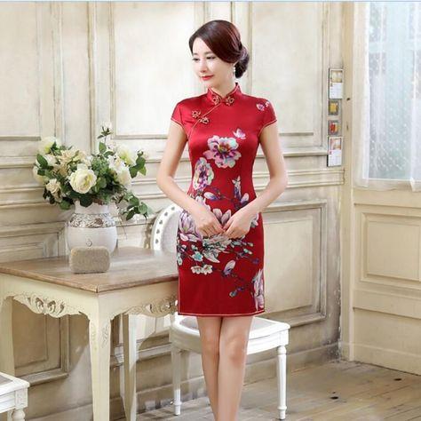 e186f9f1d0f 100% Mulberry Silk Chinese Women'S Mini Dress Evening Cheongsam Red Size: 6  - 14