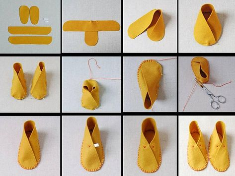 How To Make Moccasins For Dolls Making moccasins for dolls (or bears, or even children) might be a good project when studying Native Americans. How To Make Moccasins, How To Make Shoes, Baby Booties, Baby Shoes, Sewing Crafts, Sewing Projects, Diy Projects, Doll Shoes, Diy Clothes