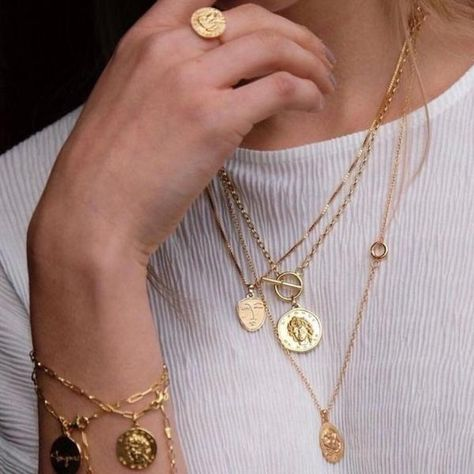 Around The Moon Opal Coin Necklace gold layers 14k gold fill gypsetco layering necklace