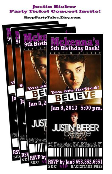 JUSTIN BIEBER BELIEVE 2013 Concert Ticket by ShopPartyTales, $995 - invitations that look like concert tickets