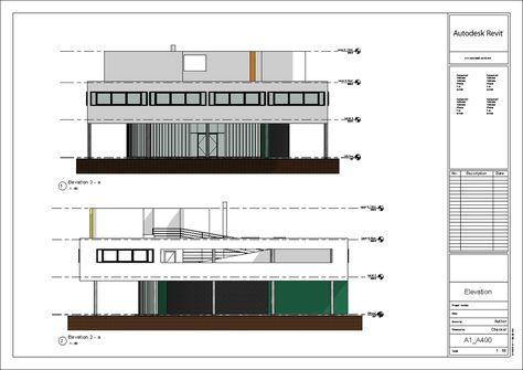 Print Four elevations of Le Corbusieru0027s Villa Savoye Le Corbusier - logiciel de dessin de maison