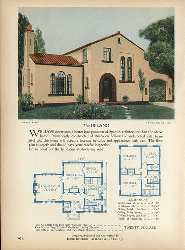 1928 Home Builders Catalog Spanish Style Homes Vintage House Plans Spanish Style