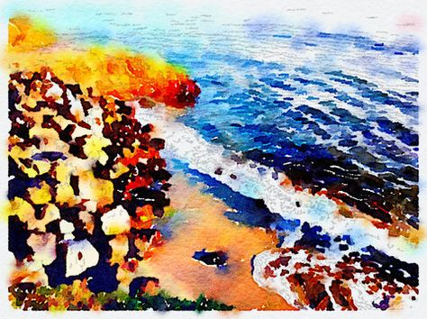 West Cliff Cove Digital Watercolor 2 – Canvas Wall Art ( 16 x 20 ) – Rodney Washington | Art Photography - $104 - http://rodneywashingtonartphotography.com/