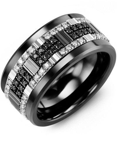 Men S All Black White Diamond Wide Wedding Band Black Diamond Wedding Bands Diamond Wedding Bands Mens Wedding Rings